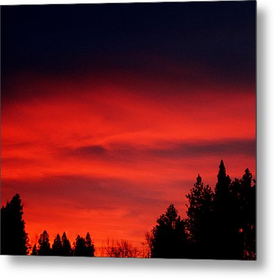 Red Sky In  The Bitterroot  Metal Print by Larry Stolle