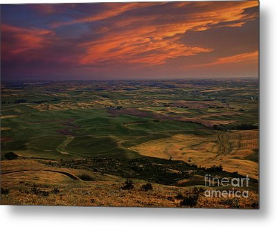 Red Sky Over The Palouse Metal Print by Mike  Dawson