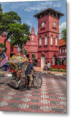Red Square Malacca Metal Print by Adrian Evans
