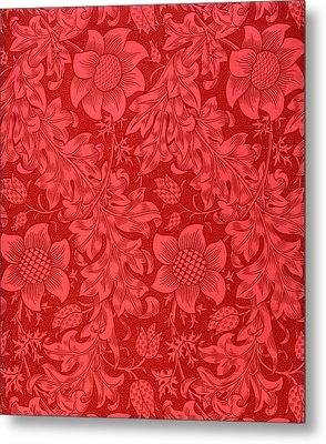 Red Sunflower Wallpaper Design, 1879 Metal Print by William Morris