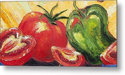 Red Tomato And Green Pepper Metal Print by Paris Wyatt Llanso
