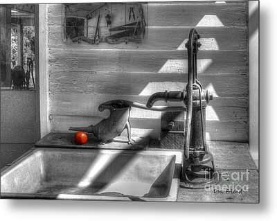Red Tomato By Sink Metal Print by Dan Friend