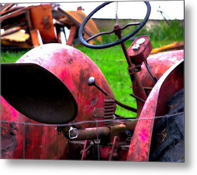 Red Tractor Rural Photography Metal Print by Laura  Carter