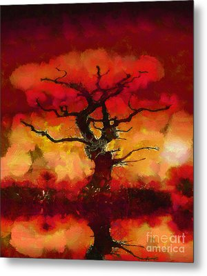 Red Tree Of Life Metal Print by Pixel Chimp