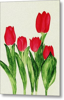 Red Tulips Metal Print by Anastasiya Malakhova