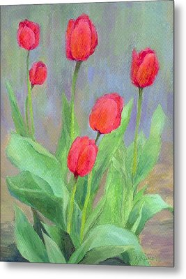 Red Tulips Colorful Painting Of Flowers By K. Joann Russell Metal Print by K Joann Russell