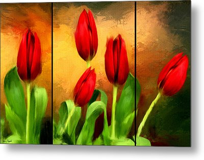 Red Tulips Triptych Metal Print by Lourry Legarde