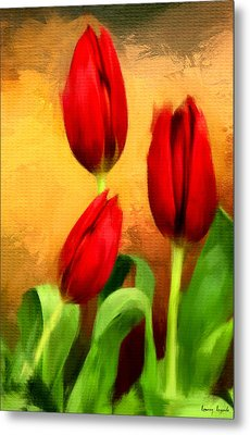 Red Tulips Triptych Section 2 Metal Print by Lourry Legarde