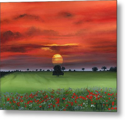 Red Tuscan Sunrise With Poppy Field Metal Print by Cecilia Brendel