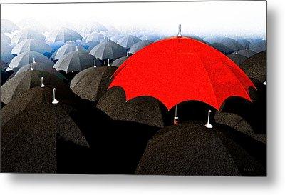 Red Umbrella In The City Metal Print by Bob Orsillo