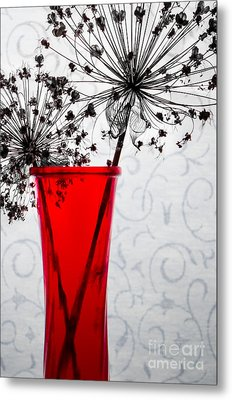 Red Vase With Dried Flowers Metal Print by Michael Arend
