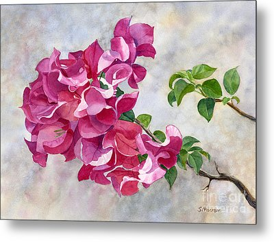 Red Violet Bougainvillea With Textured Background Metal Print by Sharon Freeman