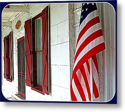 Red White And Blue Metal Print by Dorothy Menera