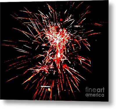 Red White Metal Print by Shelia Kempf