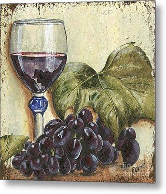 Red Wine And Grape Leaf Metal Print by Debbie DeWitt