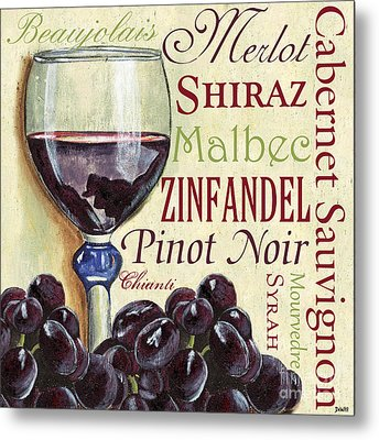 Red Wine Text Metal Print by Debbie DeWitt