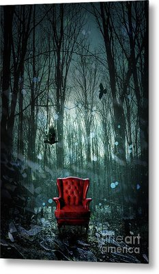Red Wing Chair In Forest At Twilight Metal Print by Sandra Cunningham