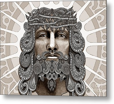 Redeemer - Modern Jesus Iconography - Copyrighted Metal Print by Christopher Beikmann