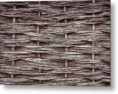 Reed Fence Metal Print by Tom Gowanlock