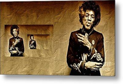 Reflecting On Jimi Hendrix  Metal Print by Andrea Kollo
