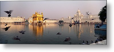 Reflection Of A Temple In A Lake Metal Print by Panoramic Images