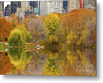 Reflections In Central Park New York City Metal Print by Sabine Jacobs