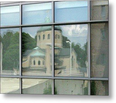 reflections in WPI window Metal Print by Anne Babineau