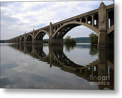 Reflections Of A Bridge Metal Print by Scott D Welch