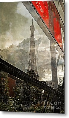 Reflections Of Paris Metal Print by Mary Machare