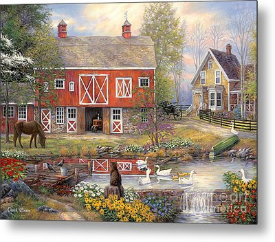 Reflections On Country Living Metal Print by Chuck Pinson