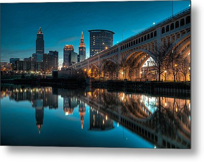Reflections On The Cuyahoga Metal Print by At Lands End Photography