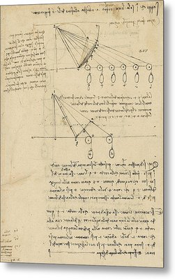 Register Of Milan Cathedral Weight And Study Of Relationship Between Position Of Beam Metal Print by Leonardo Da Vinci