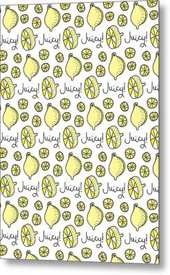Repeat Prtin - Juicy Lemon Metal Print by Susan Claire