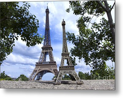 Replica Eiffel Tower Next To The Real Eiffel Tower Metal Print by Bernard Jaubert