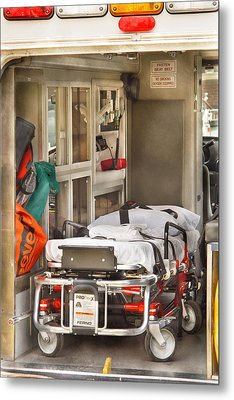 Rescue - Inside The Ambulance Metal Print by Mike Savad