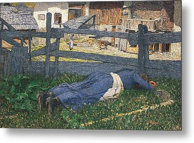 Resting In The Shade Metal Print by Giovanni Segantini