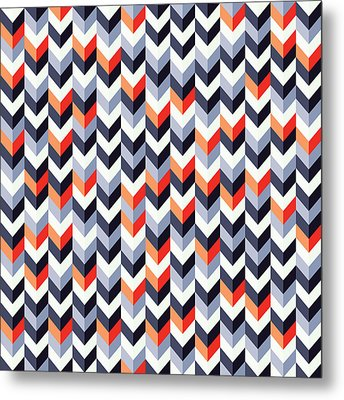 Retro Geometric Metal Print by Mike Taylor