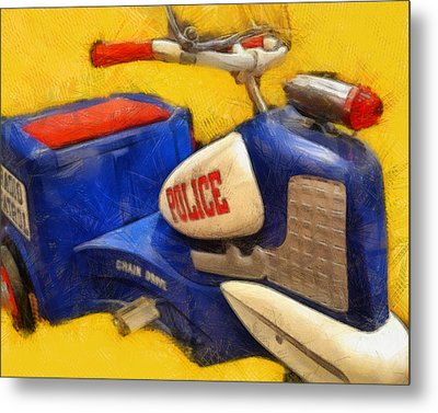 Retro Police Tricycle Metal Print by Michelle Calkins