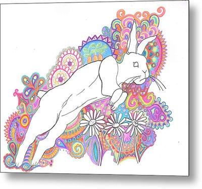 Retro Rabbit 2 Metal Print by Cherie Sexsmith