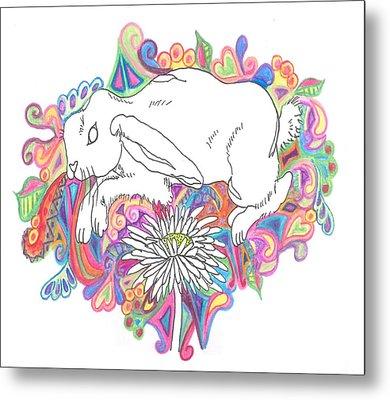 Retro Rabbit Metal Print by Cherie Sexsmith