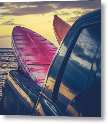 Retro Surf Boards In Truck Metal Print by Mr Doomits