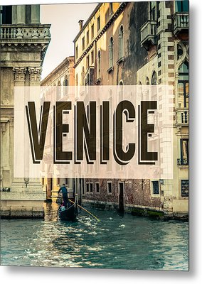 Retro Venice Grand Canal Poster Metal Print by Mr Doomits