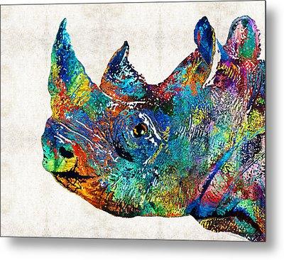 Rhino Rhinoceros Art - Looking Up - By Sharon Cummings Metal Print by Sharon Cummings