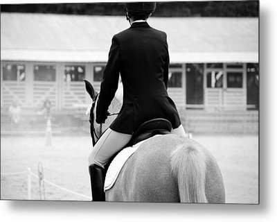 Rider In Black And White Metal Print by Jennifer Ancker