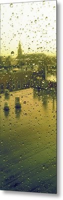 Ridgewood Wet With Rain St Matthias Roman Catholic Church Metal Print by Mieczyslaw Rudek Mietko