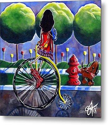 Riding Grandmas Bike Metal Print by Jackie Carpenter