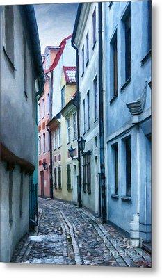 Riga Narrow Street Painting Metal Print by Antony McAulay