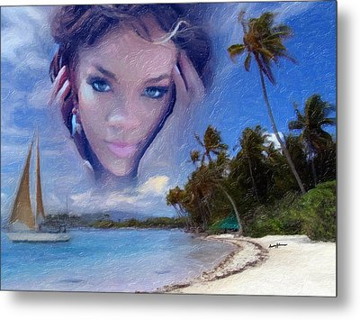Rihanna Metal Print by Anthony Caruso