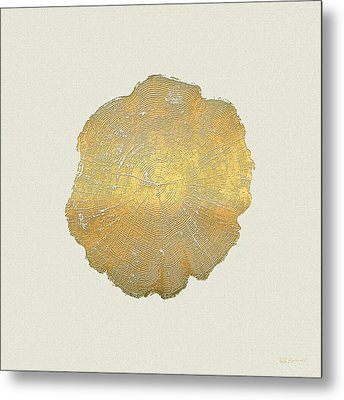 Rings Of A Tree Trunk Cross-section In Gold On Linen Beige Metal Print by Serge Averbukh