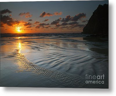 Ripples On The Beach Metal Print by Mike  Dawson